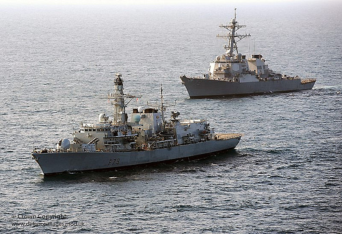 British and American ships conducting anti-piracy training in the Gulf of Aden.